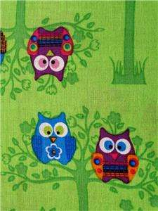 New Sitting Pretty Owls Wild Birds Trees Green Springs Creative Fabric