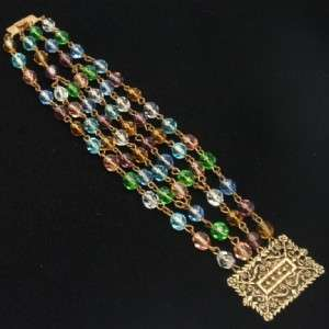 Multi Color Multi Strand Crystal Bracelet Vintage
