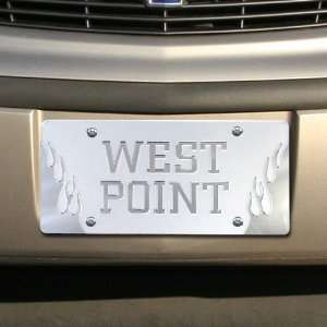 West Point Satin Mirrored Flame License Plate Sports