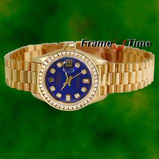Rolex Ladies President Datejust Blue Gold Diamond Watch