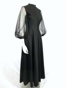 Vtg 60s 70s Black Long Sheer POET Chiffon BALLOON SLEEVES Maxi Goddess
