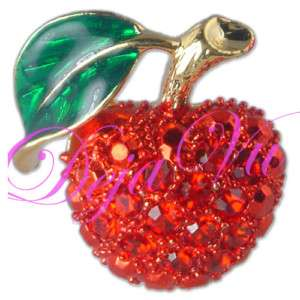 GOLD PLATED CRYSTAL RED APPLE FRUIT BROOCH PIN MADE WITH SWAROVSKI