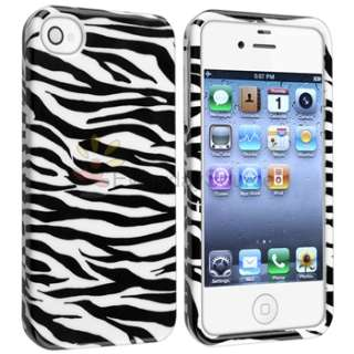 White/Black Zebra Hard Case+Car Dashboard Mount+Charger For iPhone 4
