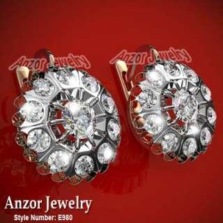 Russian style White Topaz Earrings 14k Rose White Gold #E980