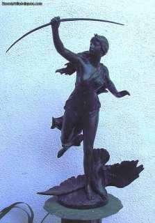 Large Antique Bronze Diana Sculpture signed Paul Gasq