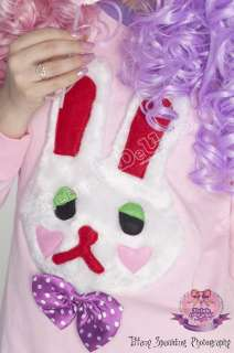 Kawaii Cutie Decora Plush Bunny Rabbit TEE+Brooch PINK