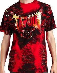 Mens Tapout Red Color Gold Foil shortsleeve Mma Tee ufc T Shirt