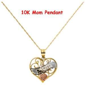 Valentine Day Gifts 10k Tri color MOM Heart Pendant