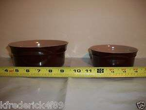 Brown & Cream Colored Plastic Food & Water Dog Cat Pet Feeding Dishes