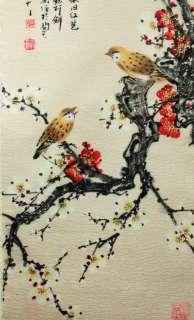 SCROLL SILK BIRD CHERRY BLOSSOM Asian Home Decor Gift