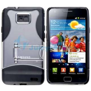 Black Clear TPU Stand Case+Charger+USB+Privacy Film For Samsung Galaxy