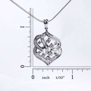 Luxury Genuine 18K Solid White Gold Prong Diamond Pendant To Necklace