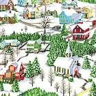 Snow Babies Snowman Winter Cabin Scene   South Sea Imports Cotton
