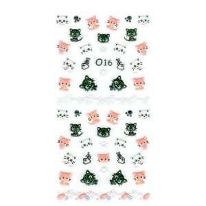 Glitter Kitty Cat/Kitten & Fish Skeleton Nail Stickers