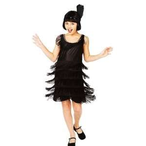 Black Flapper Costume Roaring 20s Fring Dress Medium 7 8: Toys & Games