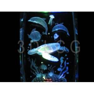 Green Sea Turtle with Dolphins 3D Laser Etched Crystal T