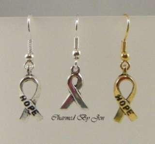 NEW Silver Gold AWARENESS RIBBON Charm Earrings U PICK