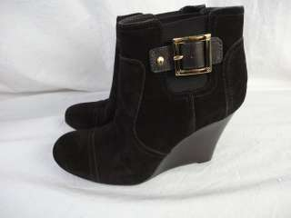 NEW TORY BURCH BLACK SUEDE WEDGE BOOTS SIZE 9/9.5