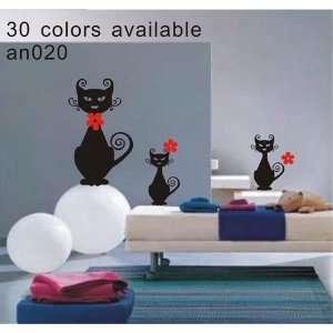 instant decoration wall sticker decor  three black cat   25.2inch