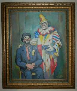 1954 OIL PAINTING OF CLOWNS HARRY DAN & EMMETT KELLY (K17)