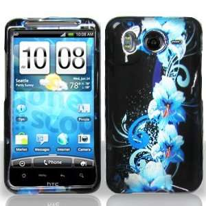 HTC Inspire 4G Blue Flower Case Cover Protector (free ESD