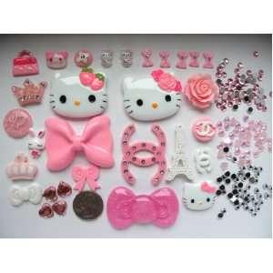 30 Mix Pink Hello Kitty Bling Bling Flat Back Resin