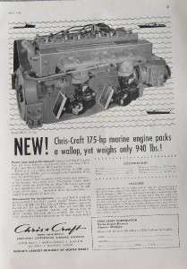 1956 CHRIS CRAFT MODEL MCL 175 HP MARINE ENGINE AD   Algonac MI