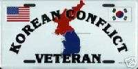 KOREAN WAR VET MILITARY LICENSE PLATE AUTO CAR TAG NEW