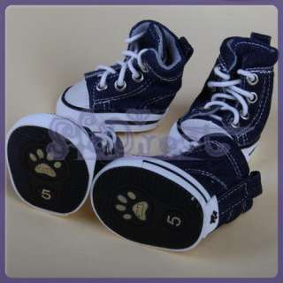 COOL New Blue DENIM SPORT Pet Dog Shoes Boots Sneakers