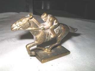 ANTIQUE BRONZE HORSE RACE JOCKEY ART STATUE RACING GAMBLING