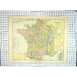 Antique Map Departments France Paris Corsica Bay Biscay