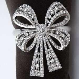 Lobjet Platinum And Gold Napkin Rings Antique Platinum Bowtie With