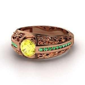 Vintage Romance Ring, Round Yellow Sapphire 14K Rose Gold Ring