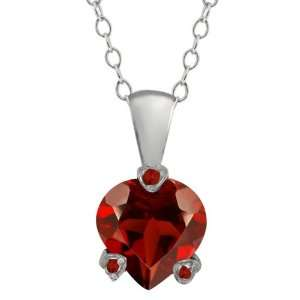 1.52 Ct Genuine Heart Shape Red Garnet Gemstone Sterling