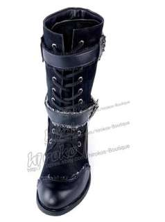 visual kei GOTHIC PUNK rock hard metal zipper belt Boot