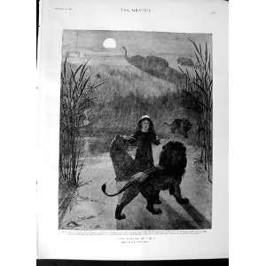 1892 Fripp Fine Art Moonlight Little Girl Wild Animals