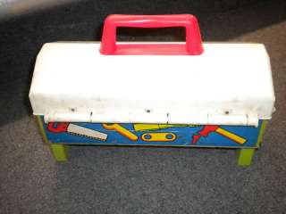 VINTAGE FISHER PRICE WOODEN WORK BENCH TOOL BOX W TOOLS
