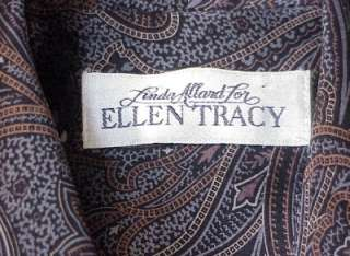 Size 10 Silk Top Blouse Browns Blues Ellen Tracy Linda Allard