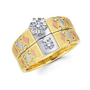 Tri Color Gold Engagement Wedding Ring Set (G H Color, SI2 Clarity