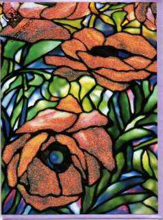 LOUIS COMFORT Art Nouveau Greeting Cards Glittery Oriental Poppy