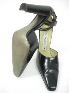 DIEGO DOLCINI Black Leather Slingbacks Heels Pumps 7.5