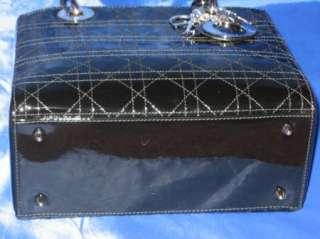 CHRISTIAN DIOR Lady Dior Medium BLACK Patent Cannage Top Handle Bag