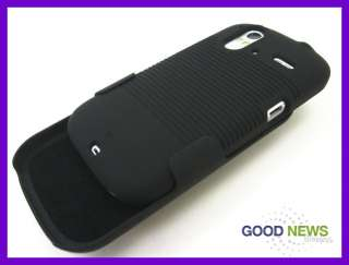for T Mobile HTC Amaze 4G   Black Rubberized Hard Cover Case + Belt