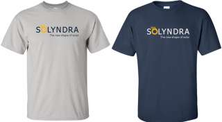 SOLYNDRA Defunct T shirt FUNNY Time to Shine BANKRUPT Solar Company