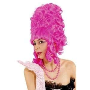 Pantomime Dame Pink Pompadour Fancy Dress Wig & Cap