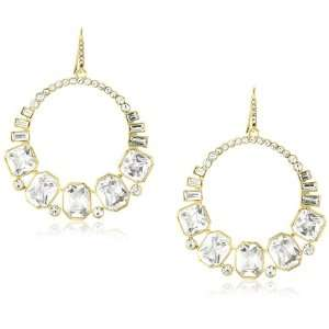 By Allen Schwartz Socialite Gold Tone Crystal Hoop Earrings Jewelry