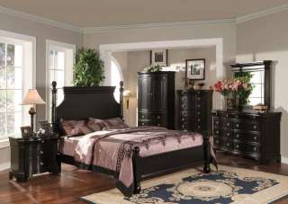 Contemporary Cottage Bedroom 5p Queen Black TV Armoire