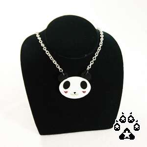 Acrylic PANDA love heart Necklace Choker Collar Anime goth Punk rave