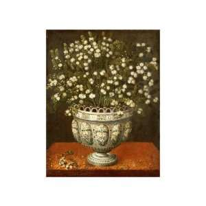 Myrtle In A Vase On A Draped Ledge by Tomas Hiepes. size: 11.75 inches