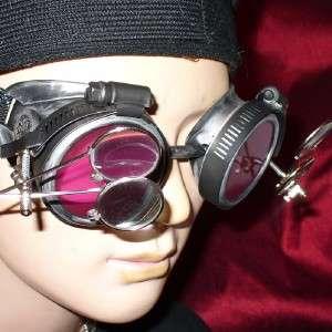 Steampunk Goggles Glasses magnifying lens Silver R.D RAVE Biker
